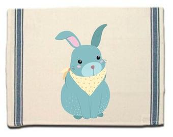 Bunny in Kerchief Kitchen Towel Dish Towel  Tea Towel  Flour Sack Material  Woodland Animals Dish Towel  Flour Sack Kitchen Towel Dish Cloth