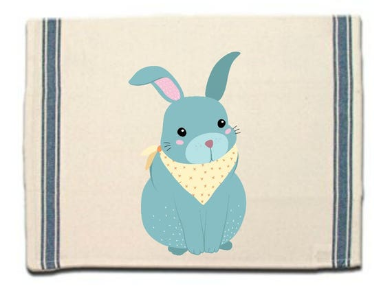 Bunny in Kerchief Kitchen Towel|Dish Towel| Tea Towel| Flour Sack Material| Woodland Animals Dish Towel| Flour Sack Kitchen Towel|Dish Cloth