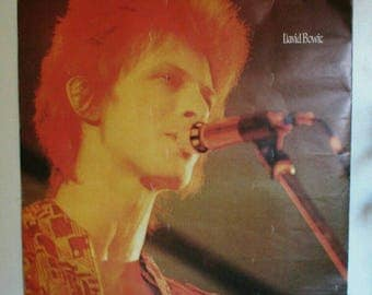 """Mega David Bowie poster Ziggy Stardust in concert on stage 1970s 29 3/4""""X 40"""" Huge big vintage music posters artist poster ULTRA RARE!"""