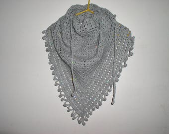 scarf, small grey sequins crocheted shawl