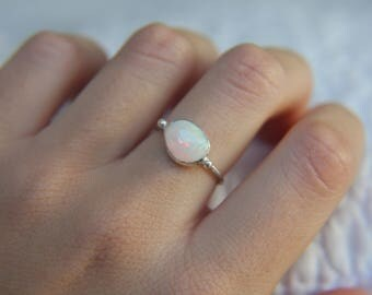 US Size 6 · Ethiopian Welo Opal Ring · Sterling Silver Ring · Ethiopian Opal Ring · Handmade Ring · Ethiopian Welo Opal · Ethiopian Opal