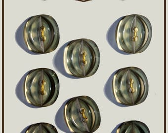 Set of 8 oval buttons transparent green plastic 15 mm