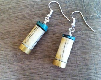 Boho turquoise and brass earrings