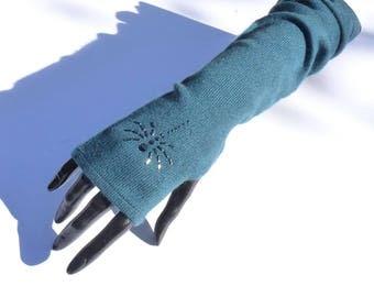 Fingerless gloves long cashmere spider scorpion rhinestone Swarovski, fingerless glove, women gift, warm fingerless mittens, fingerless gloves fancy
