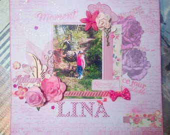 """Original: """"Lina"""" Customize scrapbooking Page. Pink floral shabby chic themed photo frame"""