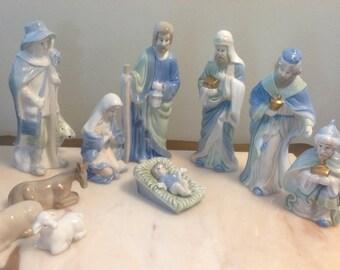 Vintage Christmas Fantasy Ltd. Porcelain Nativity Set, Vintage Christmas Decor, Nativity