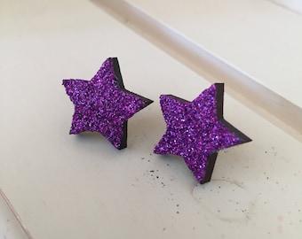 Purple Star Earrings, Star Earrings, Purple Earrings, Wood Star Earrings, Wooden Earrings, Purple Star, Stud Earrings,