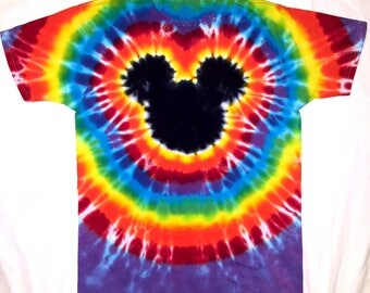 ALREADY MADE-Ships next day! Original  Hand Tie-Dyed Youth 10-12  crew neck Mickey  By Heavenly Daze