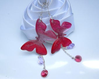 butterfly earrings glitter and Crystal rhinestones