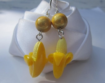 Earrings yellow banana summer