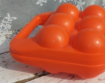 Vintage egg carton 6 eggs/Retro time/Easter/old fashioned model/Picnic/holiday/Retro/Plastic/Soupledur Ref 612/holiday/egg