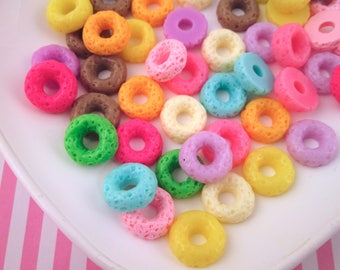 8 Multicolor Loop Cereal Cabochons, Assorted Fruit Donut Cabochons,  #1098