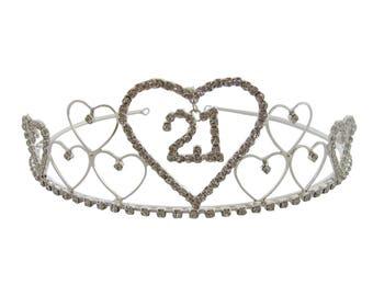 21st Birthday Tiara Diamante Crystal 21st Crown 21st Birthday Gift