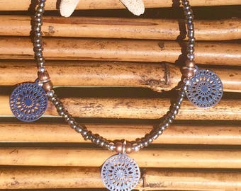Bohemian mandala disc beaded bracelet