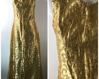 Vintage 60s Gold Lame Lurex Tinsel Maxi Dress Sleeveless VLV Bombshell Empire Waist