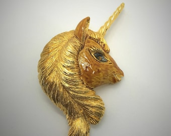Adorable Vintage Unicorn Pony Brooch Pin - Large 3D Gold Tone Enamel Detailed. For Fantasy, Magic, Mythical Creature Lovers. Kids & Adults