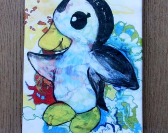 Dancing penguin print on canvas