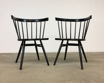George Nakashima | Pair Black 'Straight Chairs' for Knoll | Mid Century spindle