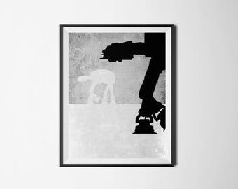 Star Wars Printable, Imperial Walker Digital Print, AT-AT Walker Digital Print, Star Wars, Star Wars Digital Art, Star Wars Decor