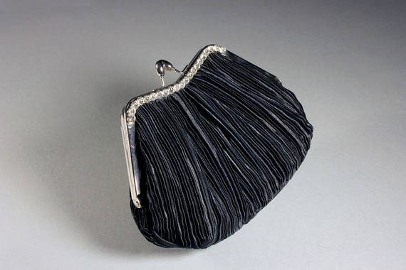 Black Evening Bag, Rhinestone Trim, Clutch Purse, Chain Handle, Pleated Crepe, Frame Opening, Kiss Closure