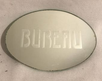 Old mirror engraved office door Plaque