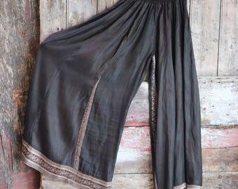 New! CHARCOAL SMUDGE, Black, Flow Pants, Yoga, ATS, Silk Sari, Tribal Fusion, Burning Man, Belly Dance, Bohemian, Barocco Tribal, Festival