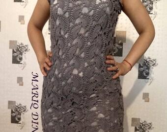 Gray crochet ladies dress / custom