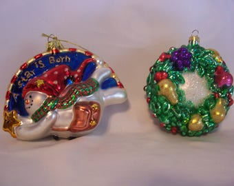 Christmas Wreath And Snowman Christmas Ornaments