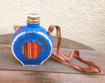 Vintage Leather Covered Canteen Bottle Rubin Vinjak Grand Prix