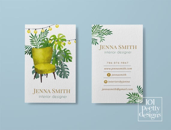 Interior designer business card watercolor business card tropical il570xn reheart Images