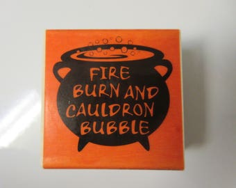 Witch Cauldron Rubber Stamp-Halloween Stamps-Cauldron Stamp-Fire Burn And Cauldron Bubble Stamp-Doulbe Double Toil And Trouble Stamp