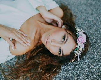 Romantic hair wreath Hair wreath in pink-greenery combination Boho wreath Summer hair wreath  Wedding hair accessories Hair jewellery