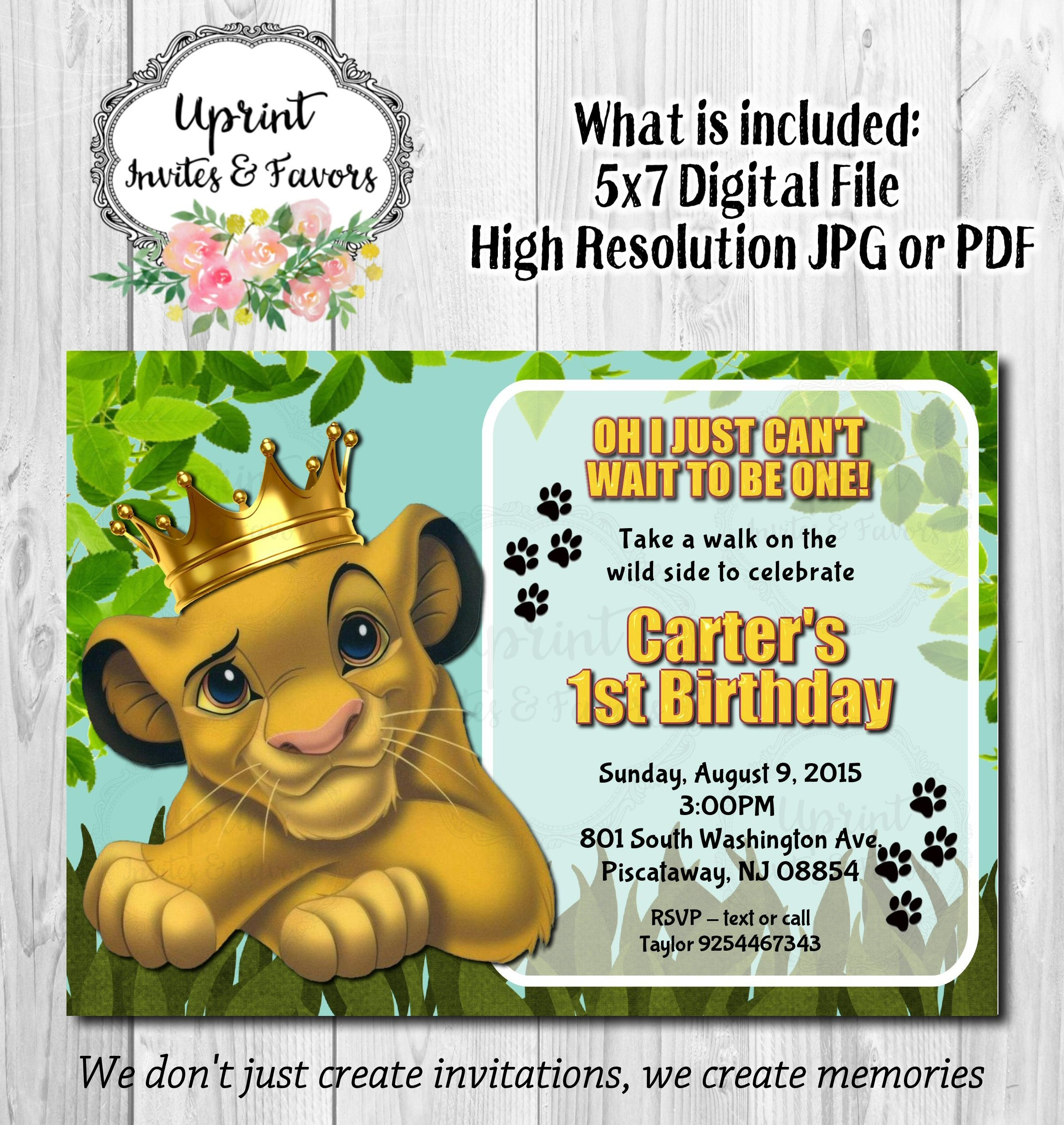 Simba King Jungle Invitation Simba with Crown Invite Lion