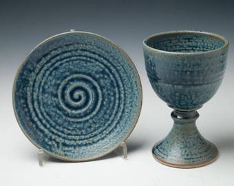 pottery communion set, ceramic chalice and paten, liturgical vessels