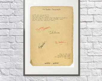 The Beatles Print - Opening & Closing Lines of the Albums - Beatles Gift - Beatles Fan - Beatles Art / Poster - John Lennon Lyrics