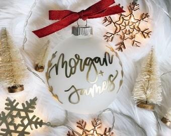 Customized Engagement Christmas ornament, engaged Christmas ornament, engagement announcement ornament, engagement gift