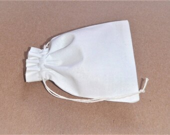 "Small White Cotton Pouches * Plain Cotton Pouches * Canvas pouches * 10 pcs * 3""x 4"" (8cm x 10cm)"