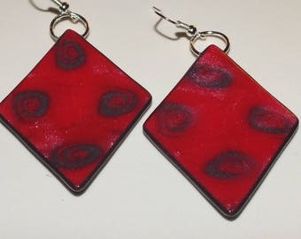 Earrings red and charcoal grey swirls