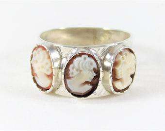 Antique 999 Silver Cameo Ring