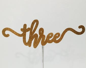 Three gold glitter number cake topper, number 2 cake topper, number cake topper
