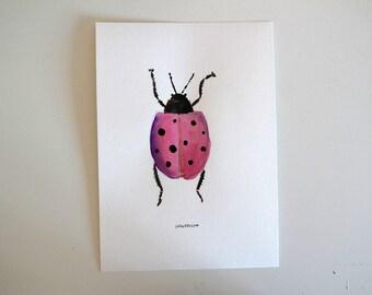 Pink bug - Original watercolour