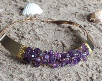 semi precious purple amethyst/collar Choker