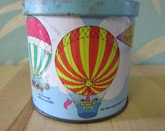 Vintage Blue Bird Confectionery hot air balloon motif toffee tin