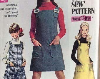 Simplicity 7877 junior misses jumper & pantjumper size 9/10 bust 30 1/2 or size 13/14 bust 33 1/2 vintage 1960's sewing pattern
