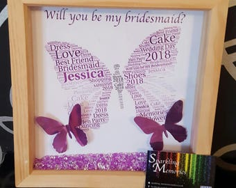 Will you be my bridesmaid / Maid of Honour / Flower Girl Personalised Frame Gift