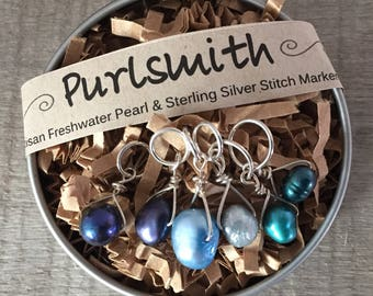 Beautiful Blues Mix Freshwater Pearl & Sterling Silver Stitch Markers for Knitting,Set of 6,Knitting Notions, Gift for Knit
