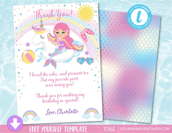 unicorn mermaid pool party thank you card pool party birthday thank