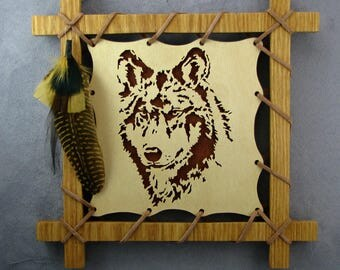 Scroll saw art etsy for Decoration murale loup