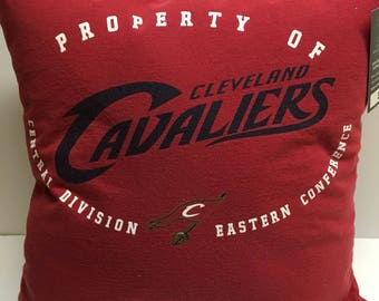 Cleveland Ohio Basketball T-Shirt Pillow 16x16 Upcycled One of a Kind