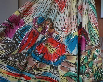 Mexican Circle Skirt Hand Painted Dancers and Cactus Sequins 1950's Size S